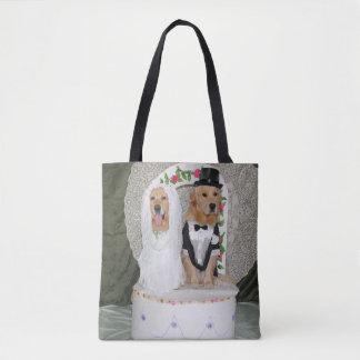 Golden Retriever Wedding Cake Tote Bag