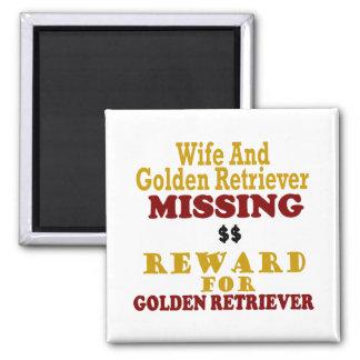 Golden Retriever & Wife Missing Reward For Golden 2 Inch Square Magnet