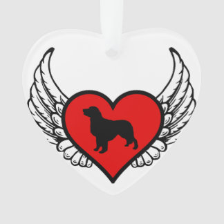 Golden Retriever Winged Heart Love Dogs Silhouette Ornament