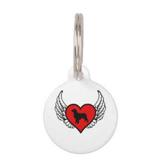 Golden Retriever Winged Heart Love Dogs Silhouette Pet ID Tag