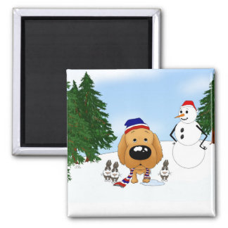 Golden Retriever Winter Scene Magnet