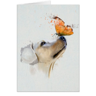 Golden Retriever With a Butterfly on Its Nose Card