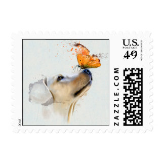 Golden Retriever With a Butterfly on Its Nose Postage