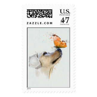 Golden Retriever With a Butterfly on Its Nose Stamp