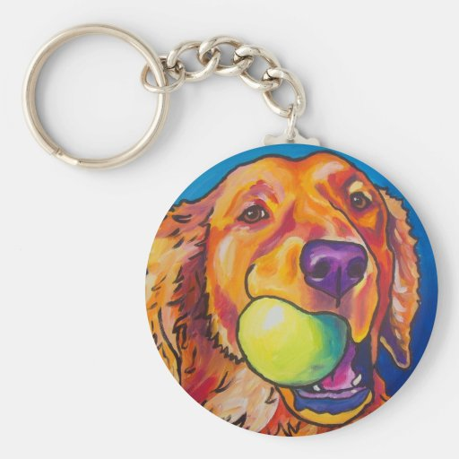 Golden Retriever with ball Key Chains