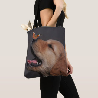 Golden Retriever With Butterfly On His Nose Tote Bag