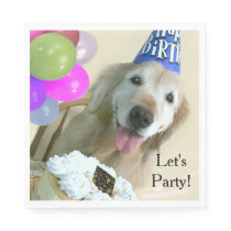 Golden Retriever With Cake and Balloons Birthday Paper Napkin