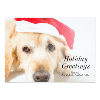 Golden Retriever With Christmas Hat Card