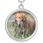 Golden Retriever with duck necklace