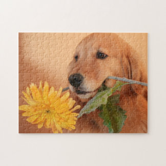 Golden Retriever With Flower Jigsaw Puzzle