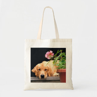 Golden Retriever With Flower Tote Bag