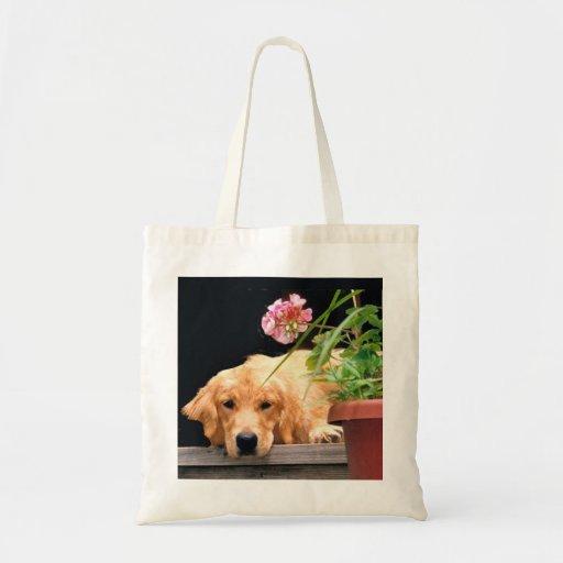 Golden Retriever With Flower Tote Bag