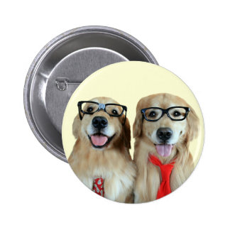 Golden Retriever With Nerd Glasses Pinback Button