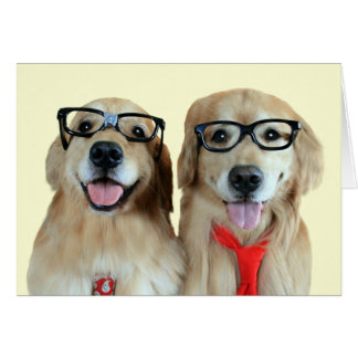 Golden Retriever With Nerd Glasses Greeting Card