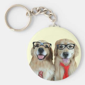 Golden Retriever With Nerd Glasses Keychains