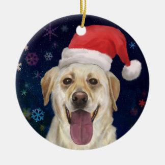 Golden Retriever with Red Santa Claus Hat Ceramic Ornament