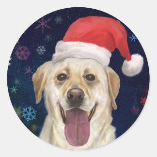 Golden Retriever with Red Santa Claus Hat Classic Round Sticker