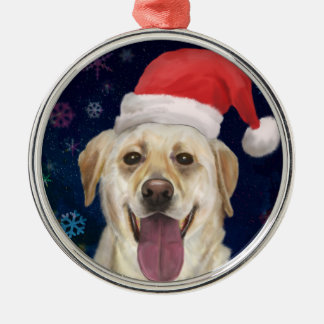 Golden Retriever with Red Santa Claus Hat Metal Ornament
