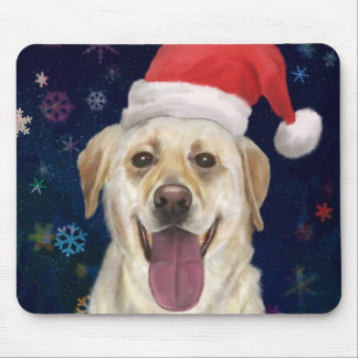 Golden Retriever with Red Santa Claus Hat Mouse Pad