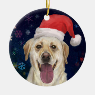 Golden Retriever with Red Santa Claus Hat Double-Sided Ceramic Round Christmas Ornament