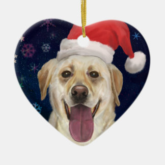 Golden Retriever with Red Santa Claus Hat Double-Sided Heart Ceramic Christmas Ornament