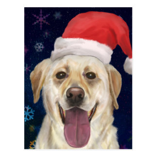 Golden Retriever with Red Santa Claus Hat Postcard