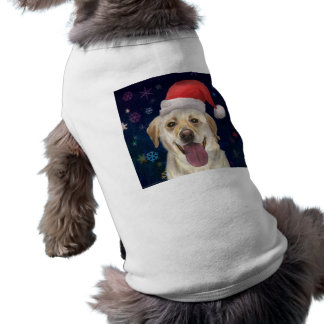 Golden Retriever with Red Santa Claus Hat Tee