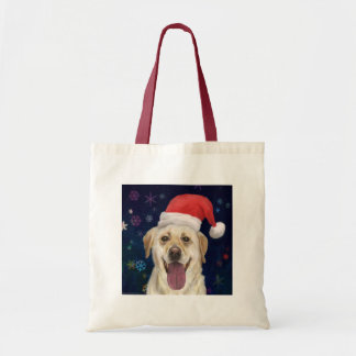 Golden Retriever with Red Santa Claus Hat Tote Bag