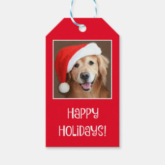 Golden Retriever With Red Santa Hat Gift Tags