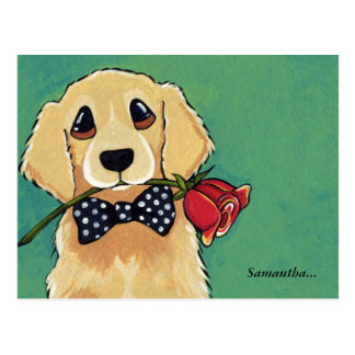 Golden Retriever with Rose Thank You Postcard