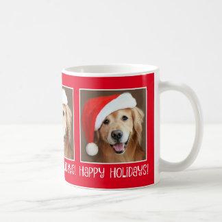 Golden Retriever With Santa Hat Holiday Christmas Coffee Mug