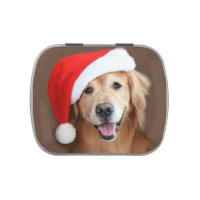Golden Retriever With Santa Hat Jelly Belly Candy Tin