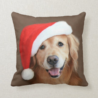 Golden Retriever With Santa Hat Pillow
