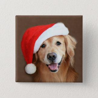 Golden Retriever With Santa Hat Pinback Button