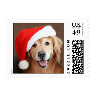 Golden Retriever With Santa Hat Postage Stamp