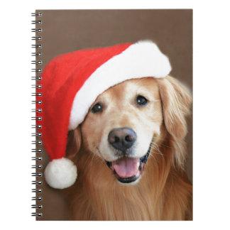 Golden Retriever With Santa Hat Spiral Notebook