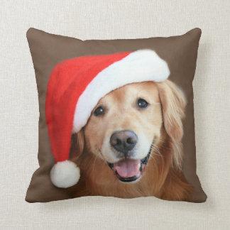 Golden Retriever With Santa Hat Throw Pillow