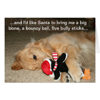 Golden Retriever With Santa Toy Greeting Card