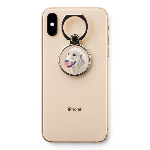 Golden Retriever with Tennis Ball Painting Dog Art Phone Ring Stand