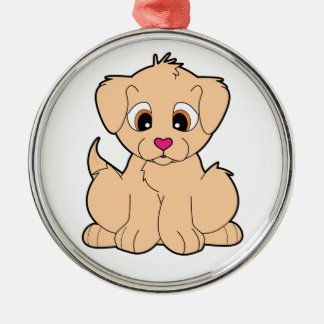 Golden Retriever with the Heart-Shaped Nose Metal Ornament