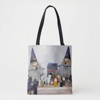 Golden Retriever Wizard's Workshop Tote Bag