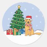 Golden retriever y árbol de navidad pegatina redonda