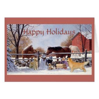 Golden retriever y caballos del navidad en la tarjetas