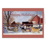 Golden retriever y caballos del navidad en la tarjeta de felicitación