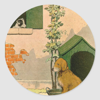 Golden retriever y Jack Russel Terrier Pegatina Redonda