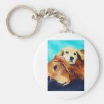Golden retriever y perrito llavero personalizado