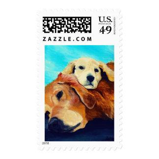 Golden retriever y perrito sellos postales