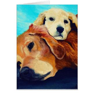Golden retriever y perrito tarjeta de felicitación