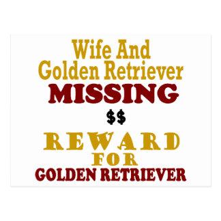 Golden retriever y recompensa que falta de la espo tarjetas postales