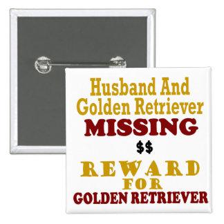 Golden retriever y recompensa que falta del marido pins